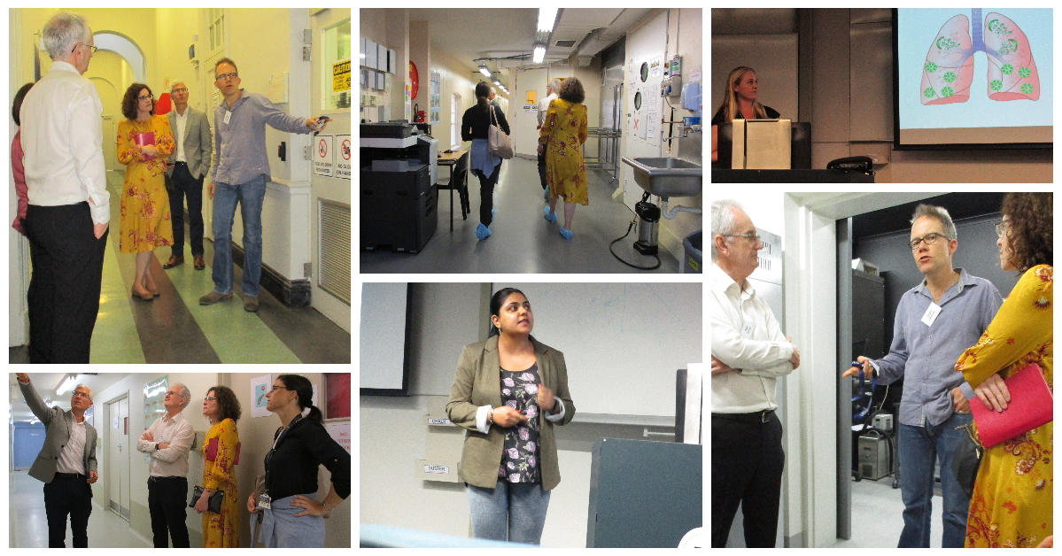 Collage of images taken during facility tour and open presentation session