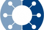Icon of a virus on a round two-tone blue background